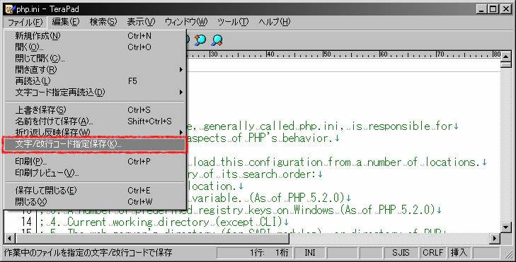 文字コード指定保存